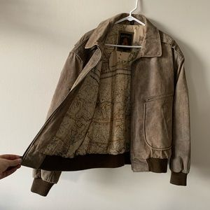 Vintage brown leather bomber flight jacket